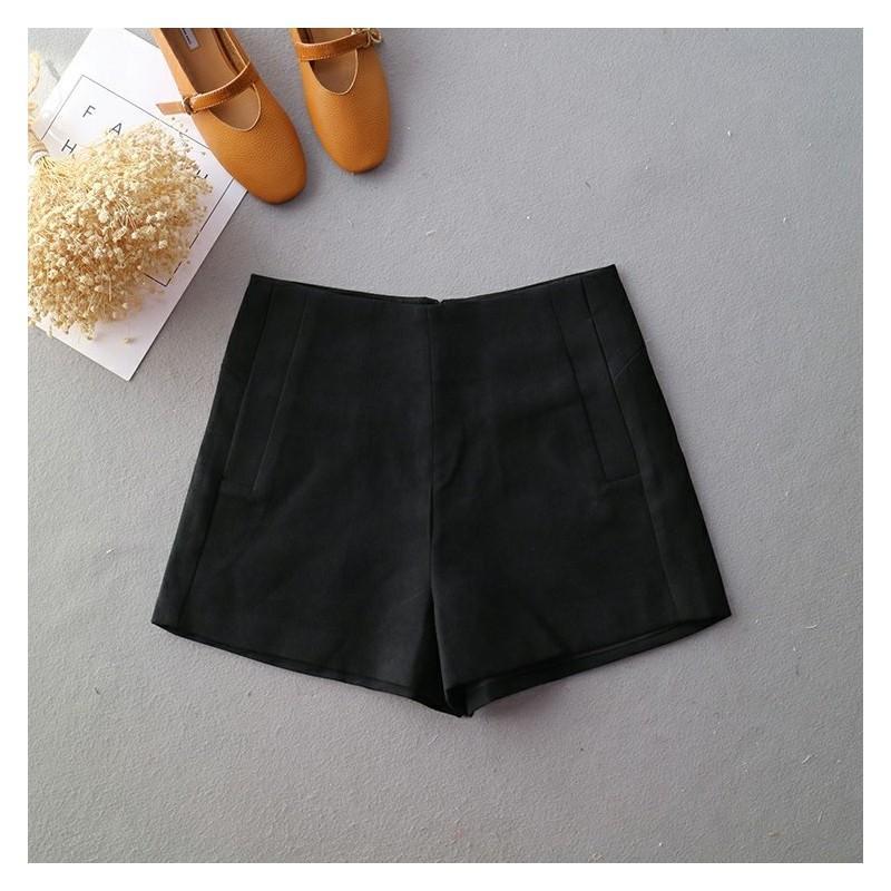 Свадьба - Casual Oversized Zipper Up Black Summer Edgy Flare Trouser Short - Lafannie Fashion Shop