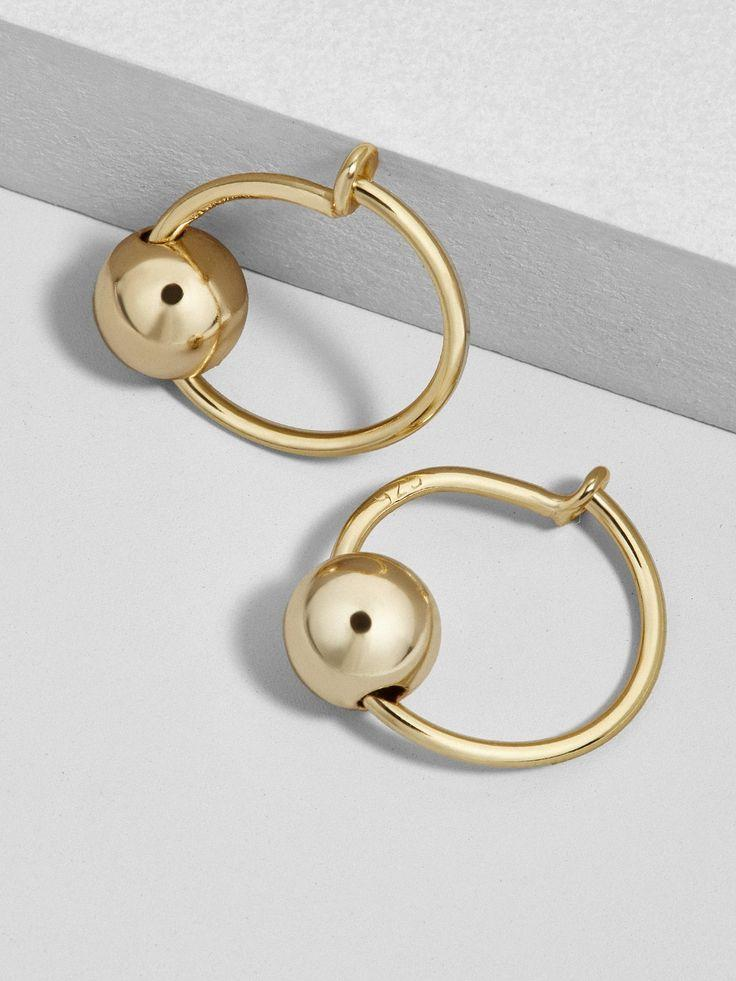 Hochzeit - Palla 18K Gold Plated Huggie Hoop Earrings