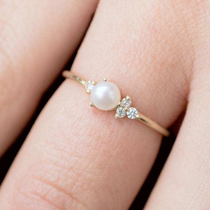 Wedding - Pearl And Diamond Ring