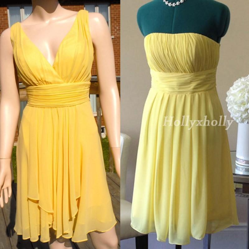 Wedding - Yellow Bridesmaid Dress, mismatch bridesmaid dress knee length - Hand-made Beautiful Dresses