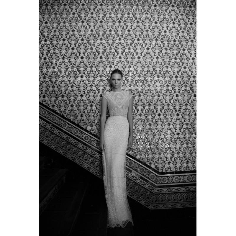 b2c5ea28f0f Alon Livne 2017 Wendy Scoop Neck Fit   Flare Cap Sleeves Ivory Vintage  Sweep Train Beading Tulle Keyhole Back Wedding Dress - HyperDress.com