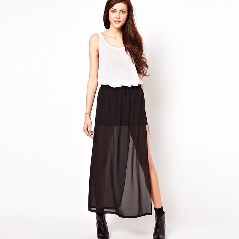Свадьба - Sexy Asymmetrical Seen Through Split Front Side Split Chiffon Skirt - Bonny YZOZO Boutique Store