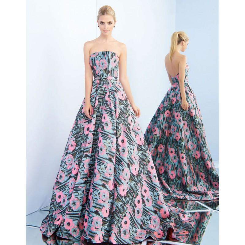 Wedding - Ieena for Mac Duggal - 55213I Strapless Floral Print Evening Gown - Designer Party Dress & Formal Gown