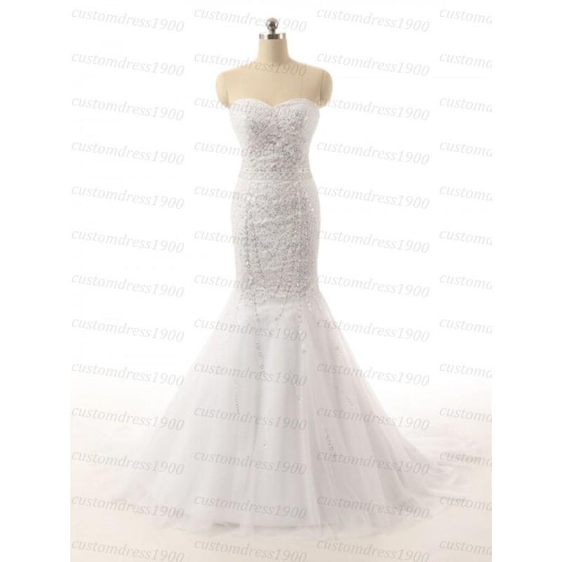 Wedding - Sexy Mermaid Wedding Dress High Quality Elegant Handmade Made Beading Tulle Women Sweetheart Bridal Gowns - Hand-made Beautiful Dresses
