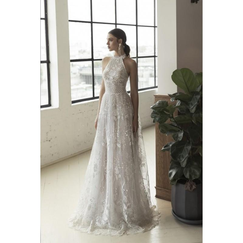 Wedding - Julie Vino 2018 1555 Sweep Train Ivory Sweet Sleeveless Aline Halter Lace Open Back Appliques Bridal Gown - Royal Bride Dress from UK - Large Bridalwear Retailer
