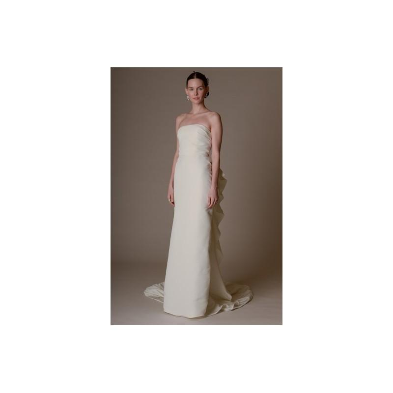 Mariage - Marchesa Spring 2016 Wedding Dress 4 - Sheath White Marchesa Full Length Strapless Spring 2016 - Rolierosie One Wedding Store