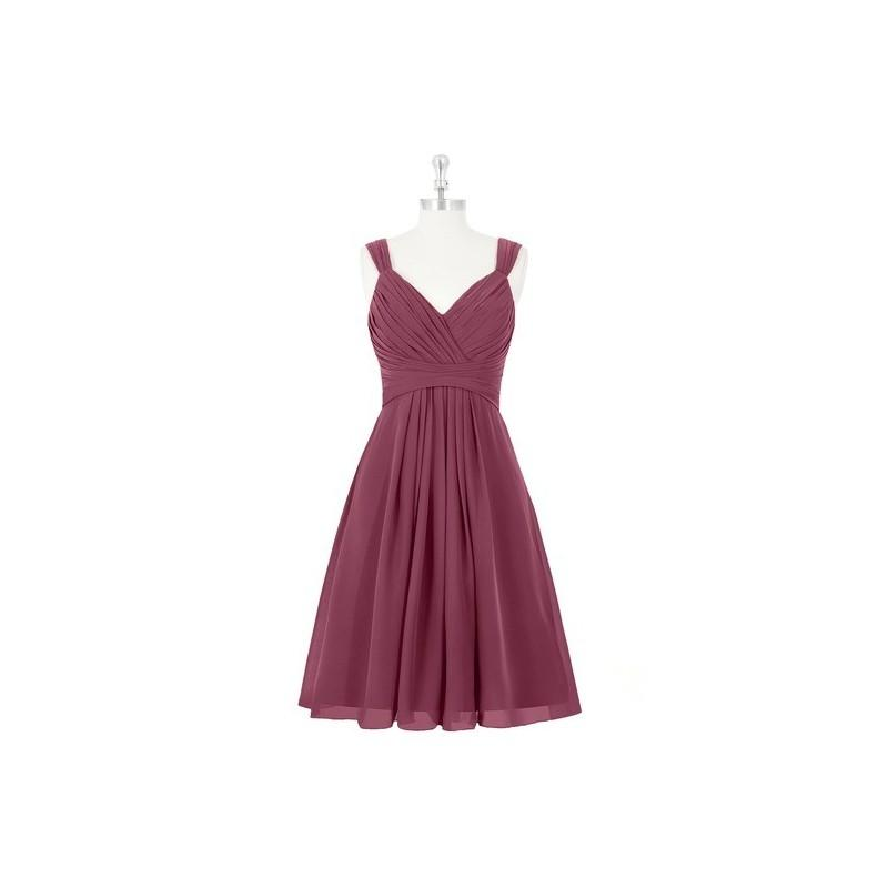 Boda - Mulberry Azazie Clara - V Neck Back Zip Knee Length Chiffon Dress - Charming Bridesmaids Store