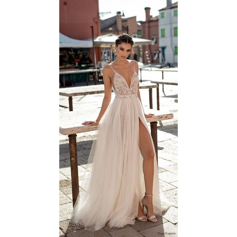 Hochzeit - Gali Karten 2018 Sweep Train Spaghetti Straps Split Aline Ivory Sleeveless Tulle Beading Dress For Bride - Customize Your Prom Dress
