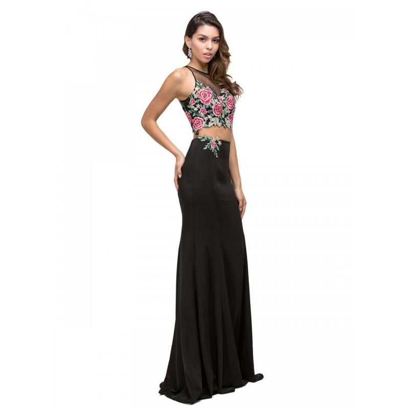 Wedding - Dancing Queen - Embroidered Floral Applique Two-Piece Prom Dress 9796 - Designer Party Dress & Formal Gown