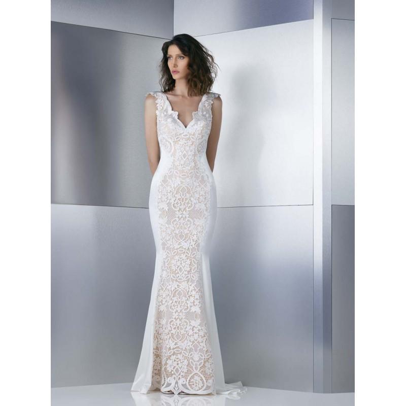 زفاف - Gemy Maalouf 2017 W17 4843 Ivory Sweep Train Elegant Cap Sleeves V-Neck Sheath Embroidery Satin Dress For Bride - Truer Bride - Find your dreamy wedding dress