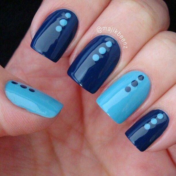 زفاف - Acrylic And Gel Nail Art In Blue Colour - Unhas Em Tons De Azul, Unas, Unghie, Karmok, Paznokcie.