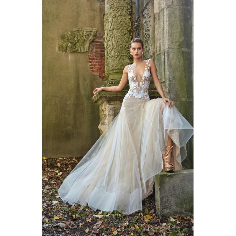 Mariage - Galia Lahav Fall/Winter 2017 Lauren Sleeveless Sweep Train Trumpet Sexy Illusion Champagne Tulle Hand-made Flowers Wedding Gown - Crazy Sale Bridal Dresses