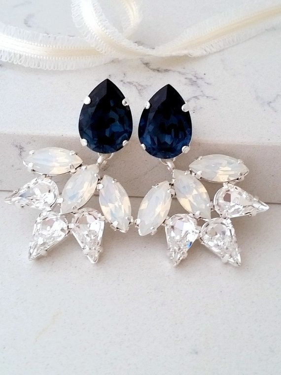 Hochzeit - Navy Blue Earring,Bridal Chandelier Earrings,Navy Blue White Opal Earrings,Statement Earring,Swarovski Crystal Earring,Bridesmaids Gift