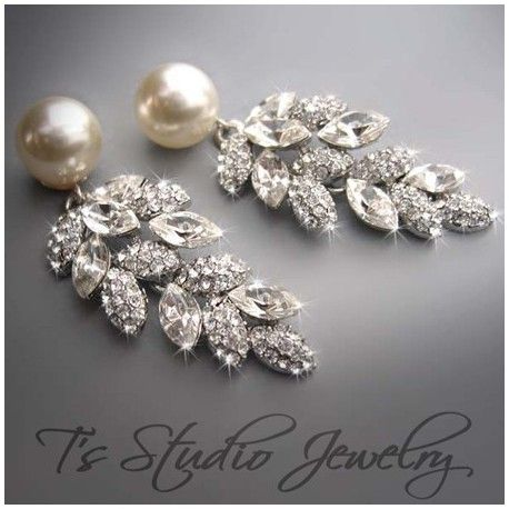 Hochzeit - Pearl And Marquise CZ Bridal Earrings
