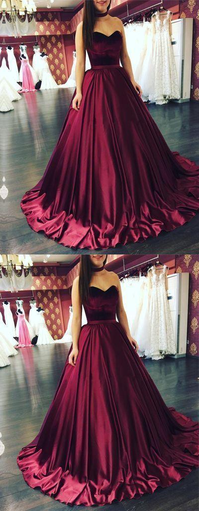 Wedding - Fashion A-Line Sweetheart Burgundy Ball Gown Long Prom Evening Dress 17028