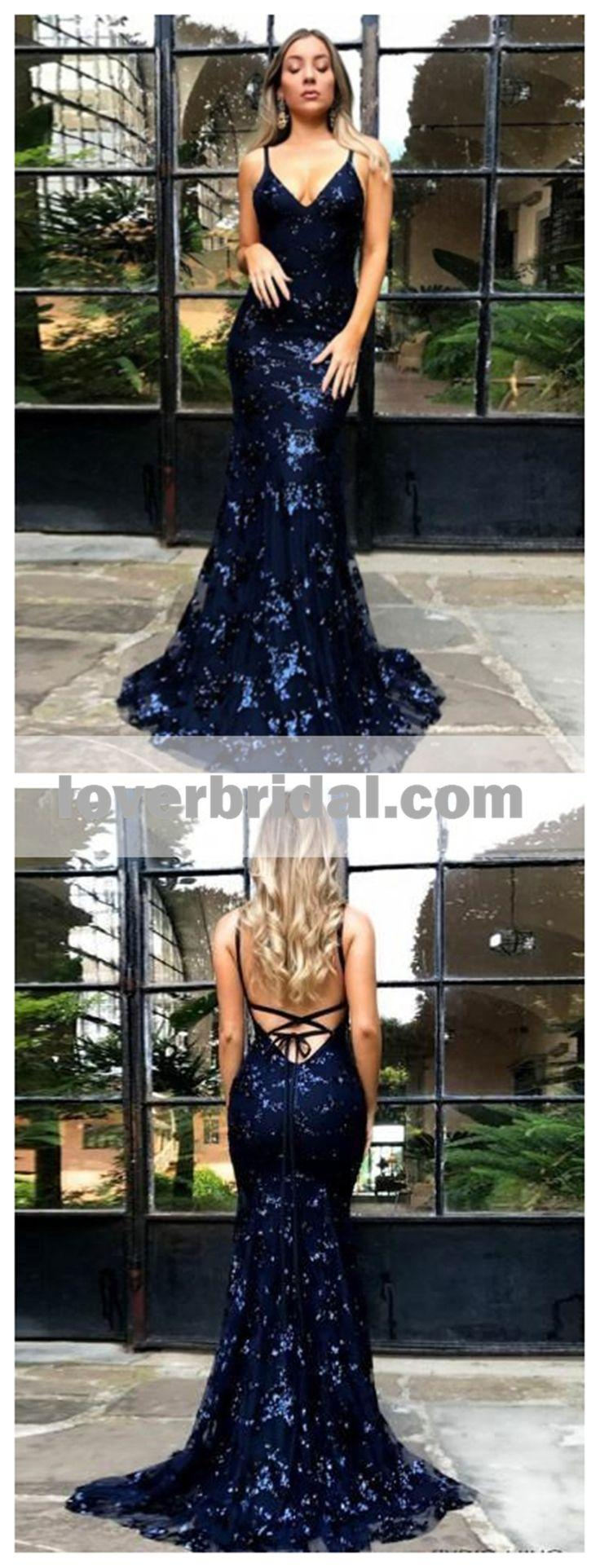 Wedding - Sparkly Backless Navy Sequin Mermaid Long Evening Prom Dresses, 17707