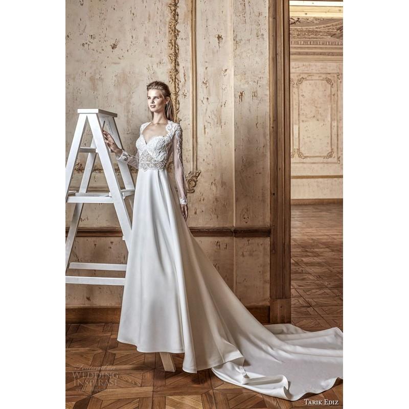 Mariage - Tarik Ediz 2017 G2058 Royal Train Ivory Satin Open Back Beading Queen Anne Aline Long Sleeves Wedding Dress - Customize Your Prom Dress