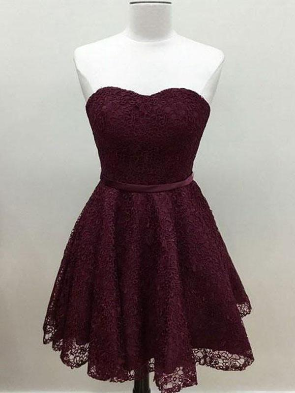 Hochzeit - Sweetheart Cute Simpe Maroon Short Lace Homecoming Dresses 2018, CM491