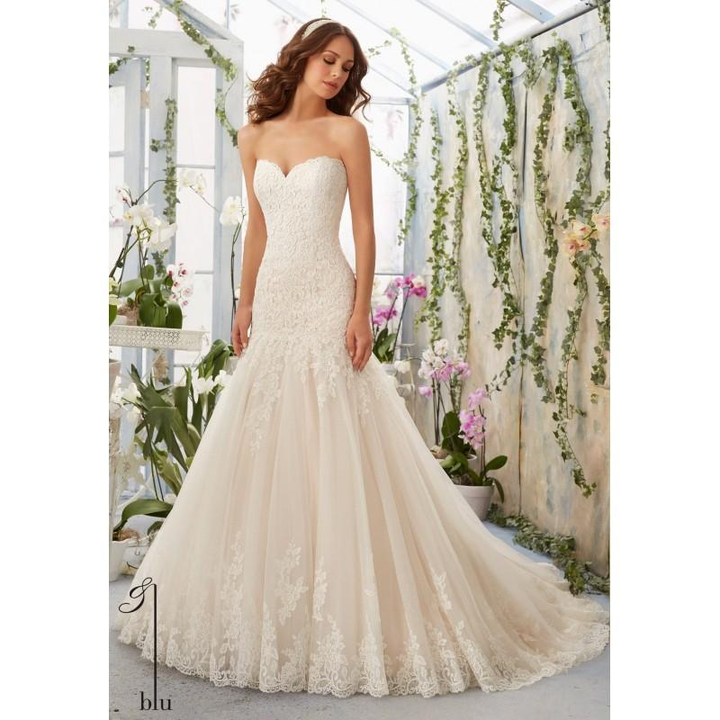 Свадьба - Blu by Mori Lee 5402 Strapless Lace Fit and Flare Sample Sale Wedding Dress - Crazy Sale Bridal Dresses
