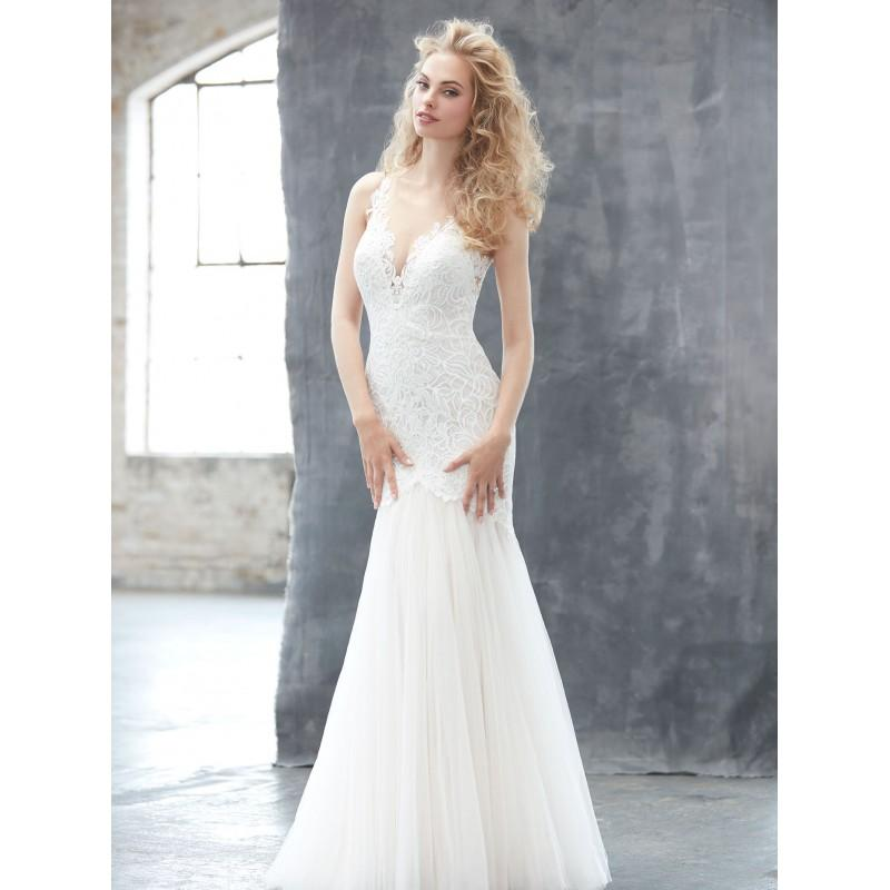 Mariage - Madison James Fall/Winter 2017 MJ306 Ivory Sweep Train Elegant Fit & Flare Illusion Sleeveless Tulle Appliques Bridal Gown - Customize Your Prom Dress
