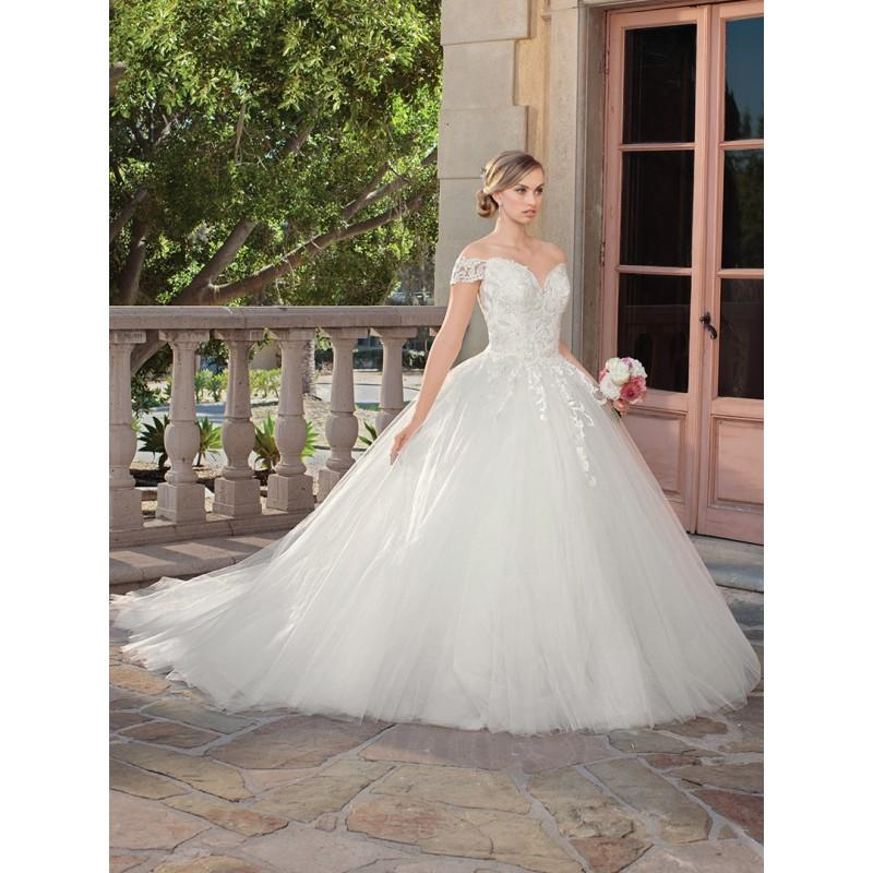 Wedding - Casablanca Bridal 2018 2312 Gracie Ivory Lace Appliques Sweet Chapel Train Off-the-shoulder Ball Gown Short Sleeves Bridal Gown - Charming Wedding Party Dresses