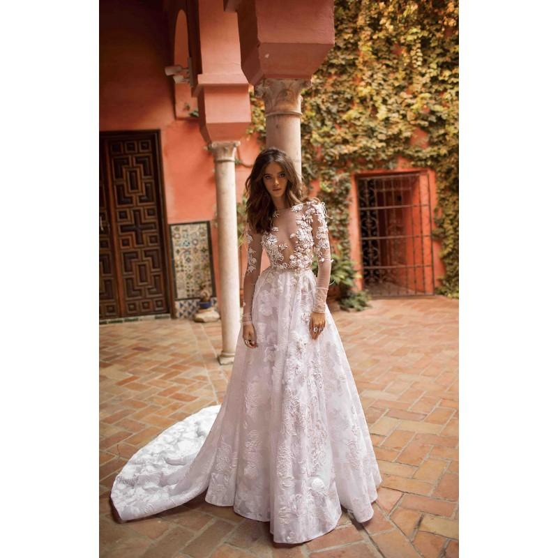 Mariage - Berta Fall/Winter 2018 Style 18-113 Chapel Train Sweet Ivory Illusion Aline Long Sleeves Organza Hand-made Flowers Bridal Gown - Crazy Sale Bridal Dresses
