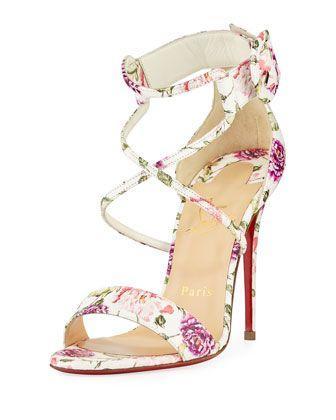 Свадьба - Choca Floral Snake Red Sole Sandal