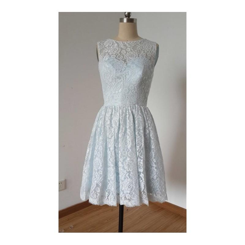 Wedding - 2015 A-line Pale Blue Lace Short Bridesmaid Dress with Back Buttons - Hand-made Beautiful Dresses