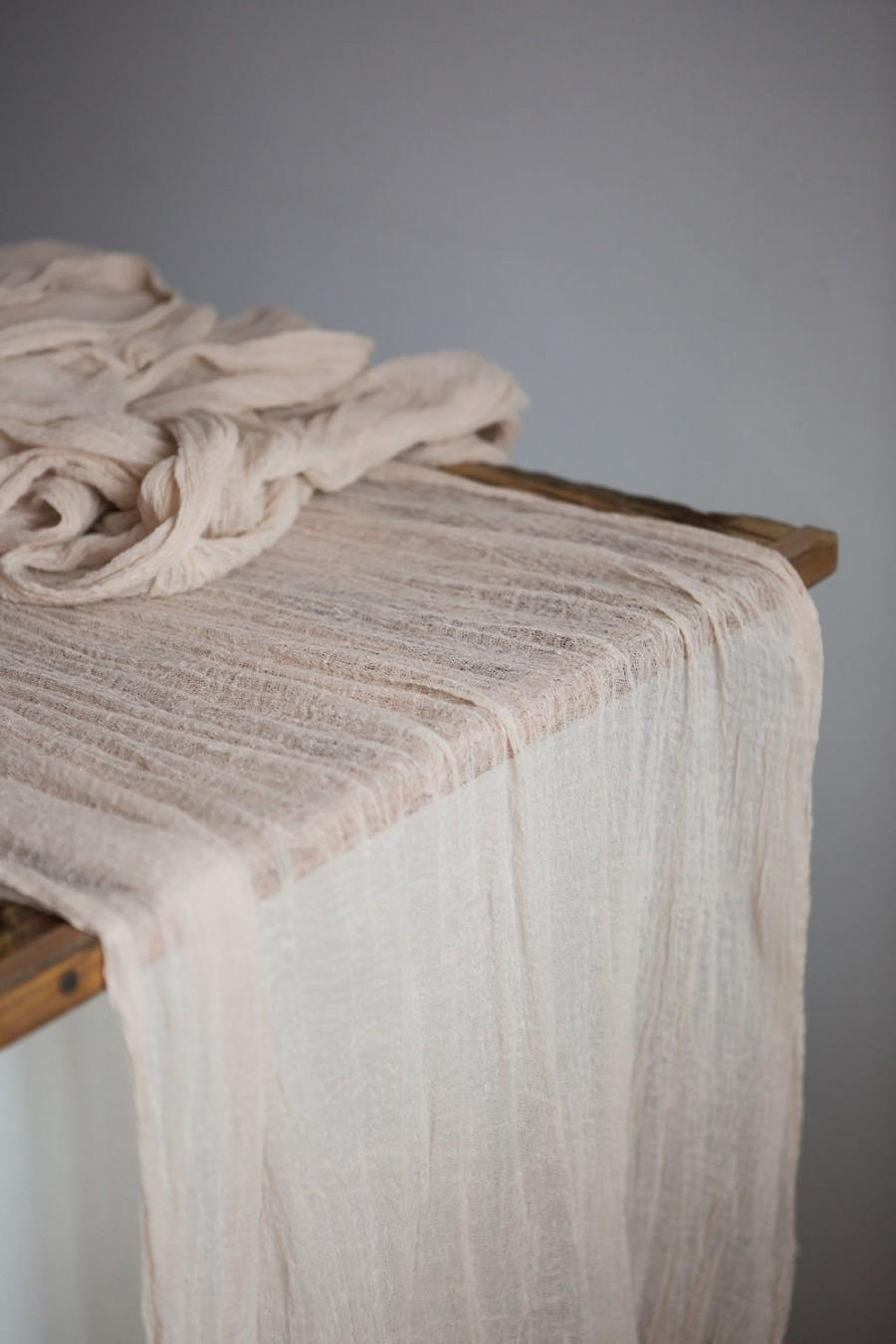 Mariage - Sand ceremony Gauze Runner Boho wedding centerpieces Cheese cloth table runner Hand dyed cotton runner Bridal shower Party decor Nude runner