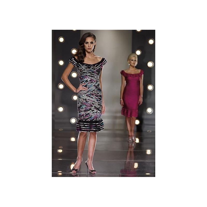 Wedding - Social Occasions by Mon Cheri Ruffle Stripe Dress with Shawl 112876 - Brand Prom Dresses