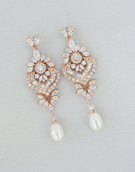 Свадьба - Rose Gold Bridal Earrings, Crystal Wedding Earrings, Statement Bridal Earrings,Bridal Jewelry, Swarovski, London Bridal Earrings