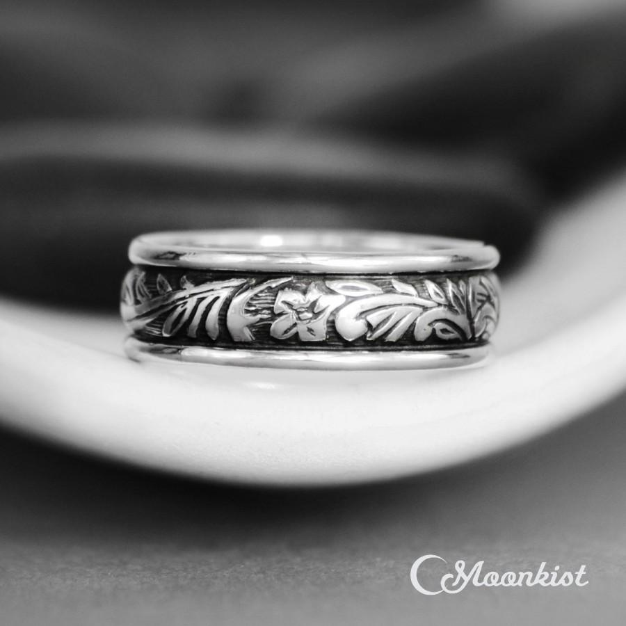 Hochzeit - Flower & Leaf Wedding Band - Nature-Inspired Sterling Silver Wedding Ring - Wide Unisex Band Ring - Floral Thumb Ring - Botanical Band