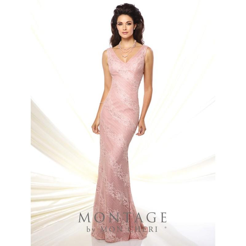 Wedding - Montage 116931 V Neck Fit and Flare Formal Gown - Brand Prom Dresses