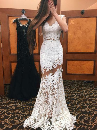 Wedding - A-LINE OFF-THE-SHOULDER TULLE APPLIQUE CHIC LONG PROM DRESS EVENING DRESS,025 From DressyBridal
