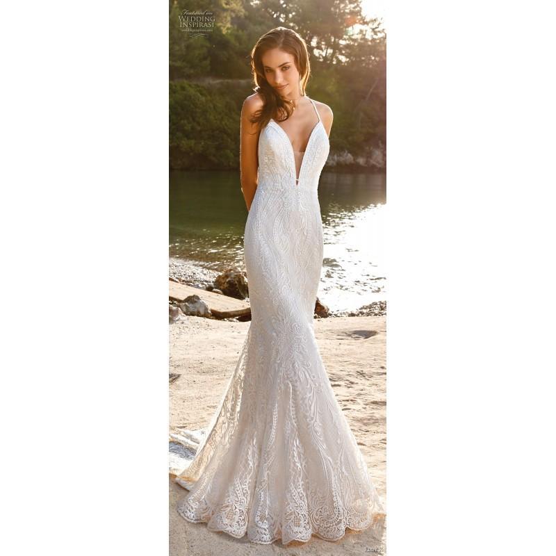 زفاف - Eddy K. 2019 Ivory Chapel Train Sweet Halter Sleeveless Fit & Flare Spring Lace Covered Button Outdoor Embroidery Wedding Gown - Rich Your Wedding Day