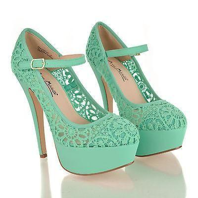 Wedding - Realove07 By Anne Michelle, Almond Toe Lace Mary Jane Platform Stiletto Heel Sandals