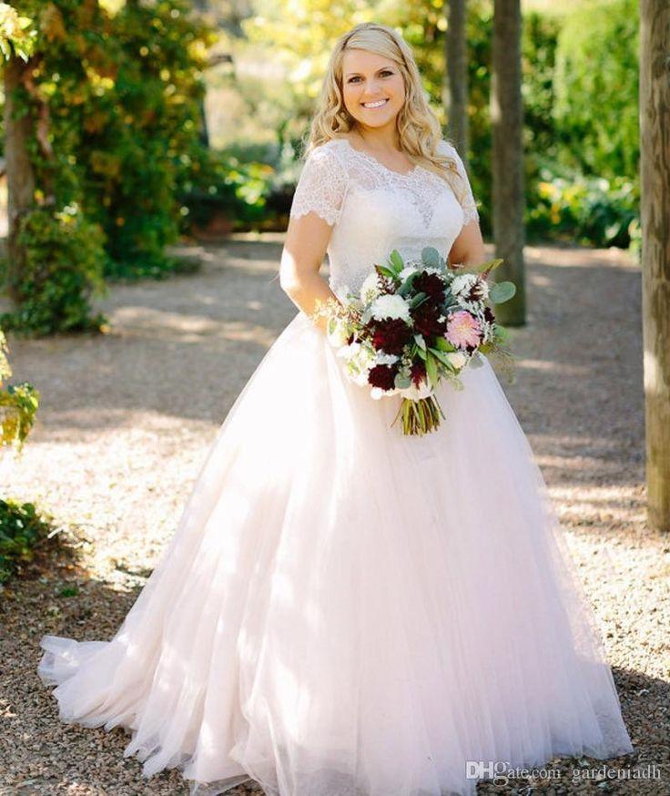 Blush Pink Peplum Wedding Dress Lace Long Sleeved Puffy Tulle Skirt ...