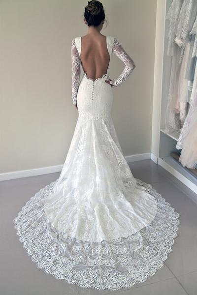 Mariage - Easy Wedding Dresses 2018 High Quality Scoop Open Back Mermaid Wedding Dress With Long Sleeves
