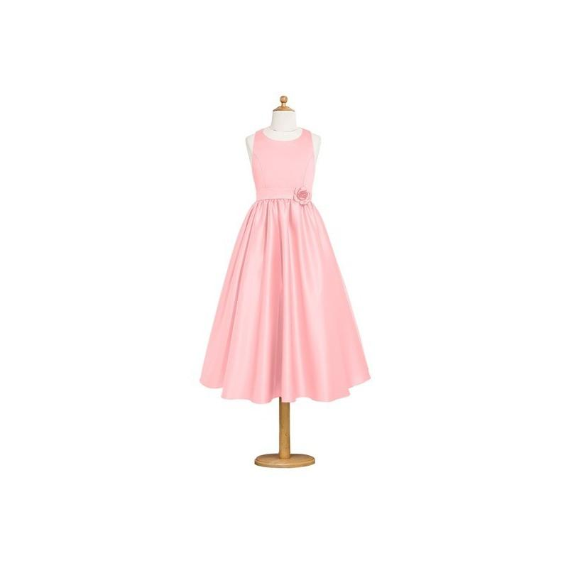 Hochzeit - Flamingo Azazie Coraline JBD - Scoop Satin Strap Detail Tea Length Dress - Charming Bridesmaids Store