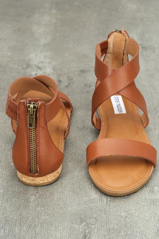 Свадьба - Steve Madden Halley Cognac Leather Sandals