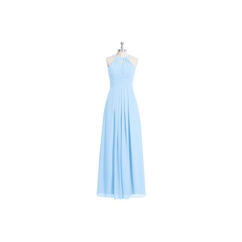 Wedding - Sky_blue Azazie Abbey - Chiffon Floor Length Halter Strap Detail Dress - Charming Bridesmaids Store