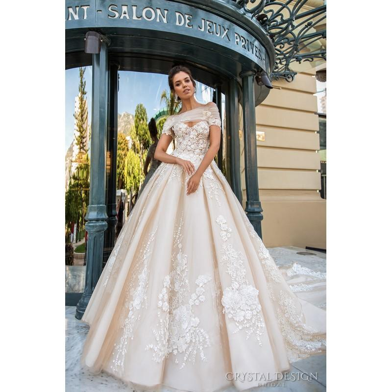 Hochzeit - Crystal Design 2017 Emilia Tulle Embroidery Off-the-shoulder Sweet Champagne Royal Train Ball Gown Short Sleeves Bridal Gown - Bridesmaid Dress Online Shop