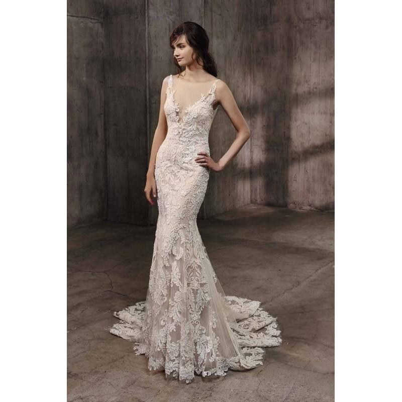 Aubree By Badgley Mischka Taupe Ivory Lace Low Back V Back Floor