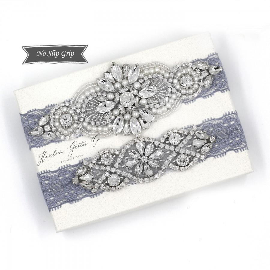 زفاف - Wedding Garter, NO SLIP Lace Wedding Garter Set, Blue bridal garter set, vintage rhinestones, pearl and rhinestone garter set D04S-DO2S