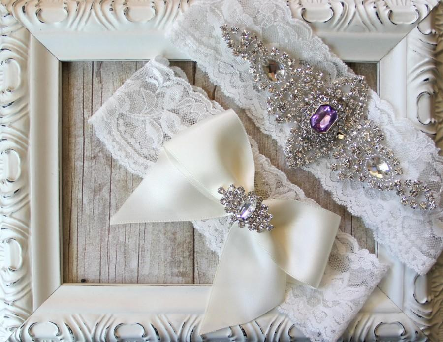 Hochzeit - Wedding garter - Customizable Vintage bridal garter set with Stunning Gemstone & Crystal Rhinestones on Comfortable Lace, wedding dress