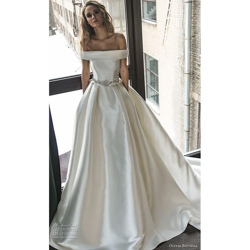 Wedding - Olivia Bottega 2018 OB10020 with Sash Satin Chapel Train Short Sleeves Off-the-shoulder Simple Ivory Ball Gown Wedding Dress - Customize Your Prom Dress