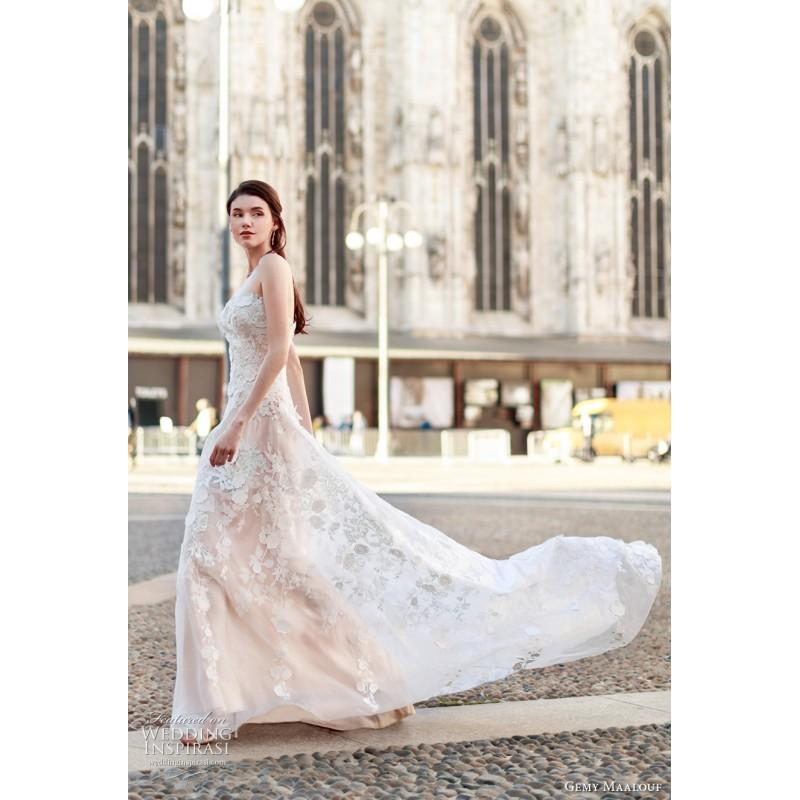 Свадьба - Gemy Maalouf 2017 W17 4805 Ivory Sweet Aline Strapless Sleeveless Sweep Train Tulle Embroidery Dress For Bride - Truer Bride - Find your dreamy wedding dress