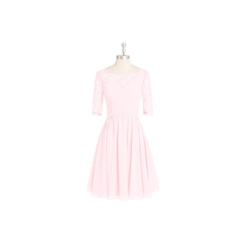 Свадьба - Blushing_pink Azazie Hattie - Boatneck Back Zip Chiffon And Lace Knee Length Dress - Charming Bridesmaids Store