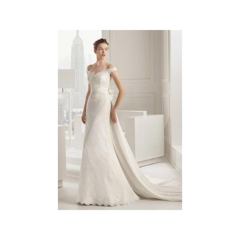 Wedding - Vestido de novia de Rosa Clará Modelo Salsa - 2015 Recta Barco Vestido - Tienda nupcial con estilo del cordón