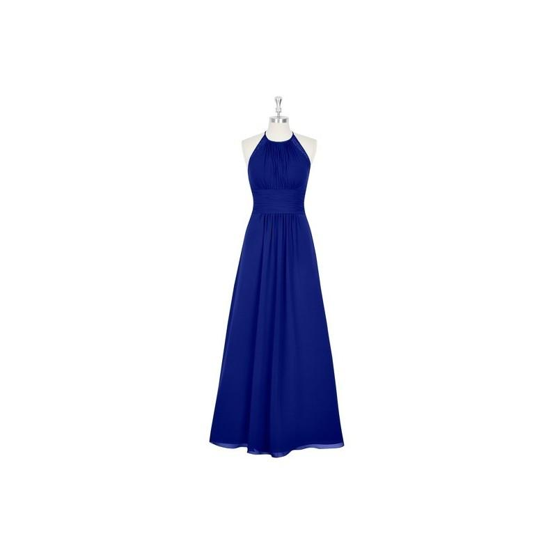 Wedding - Royal_blue Azazie Regina - Floor Length Chiffon And Lace Halter Strap Detail Dress - Simple Bridesmaid Dresses & Easy Wedding Dresses